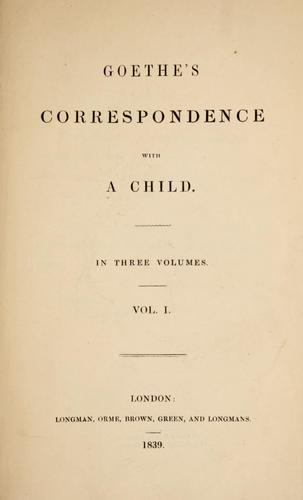 Goethe's correspondence with a child …