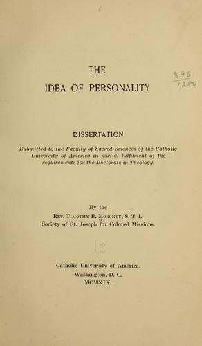 The idea of personality …