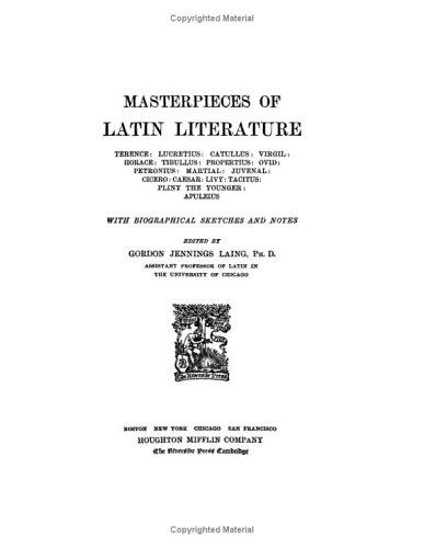 Download Masterpieces of Latin Literature