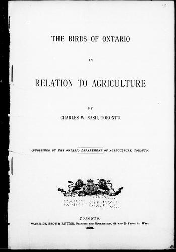 Download The birds of Ontario in relation to agriculture