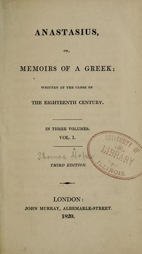 Anastasius, or, Memoirs of a Greek