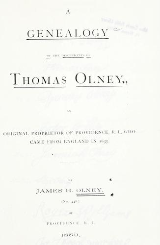 Download A genealogy of the descendants of Thomas Olney
