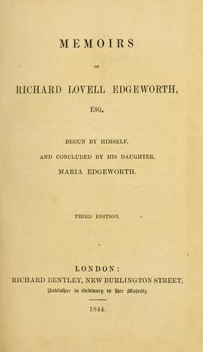 Download Memoirs of Richard Lovell Edgeworth, esq.