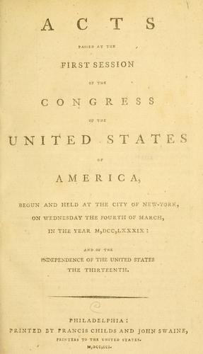 Download Acts passed at the first session of the Congress of the United States of America