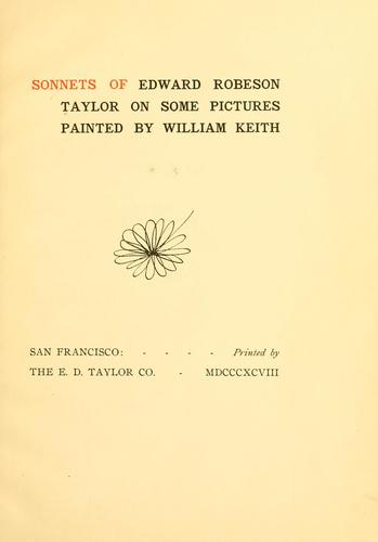 Sonnets of Edward Robeson Taylor on some pictures painted by William Keith.