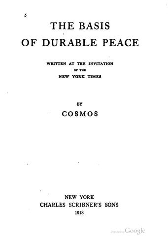 Download The basis of durable peace