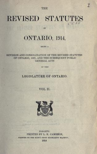 The revised statutes of Ontario, 1914