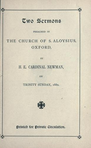 Download Two sermons preached in the Church of S. Aloysius, Oxford