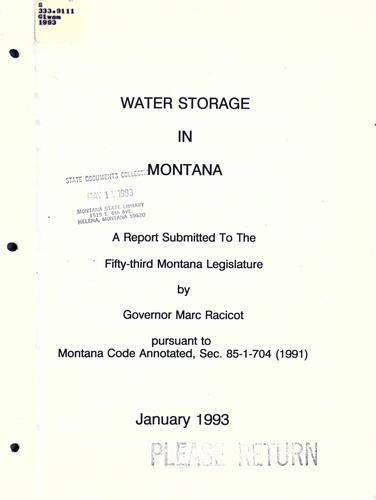 Download Water storage in Montana