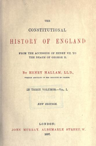 Download The constitutional history of England