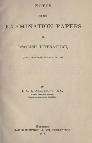 Download Notes on the examination papers in English literature