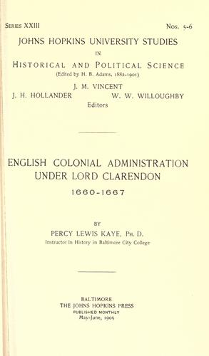 Download English colonial administration under Lord Clarendon, 1660-1667