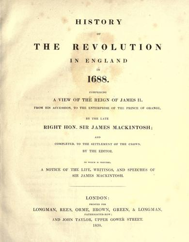 Download History of the revolution in England in 1688
