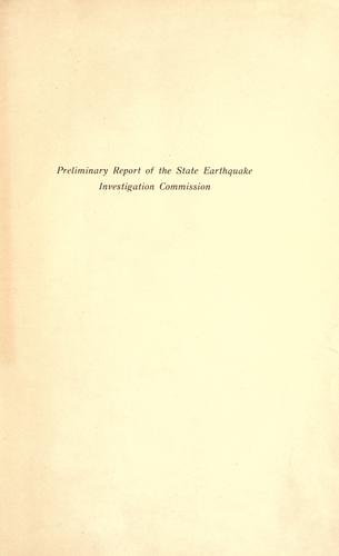 Preliminary report of the State earthquake investigation commission.
