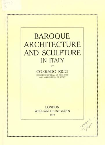 Download Baroque architecture and sculpture in Italy.