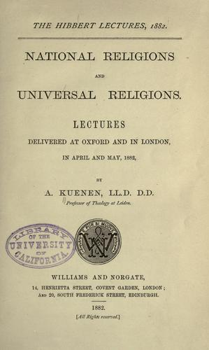 National religions and universal religions.