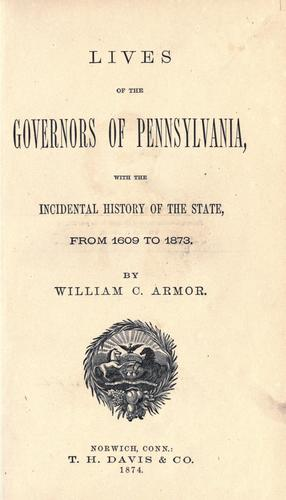 Lives of the governors of Pennsylvania