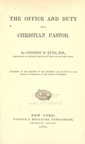 Download The office and duty of a Christian pastor