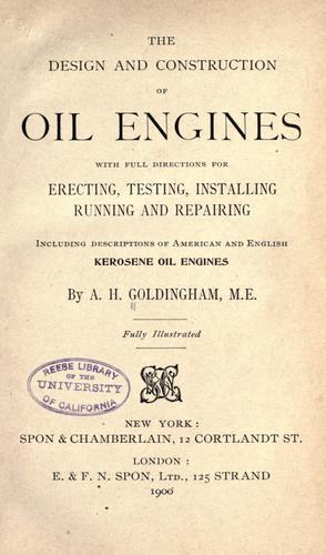 Design and construction of oil engines