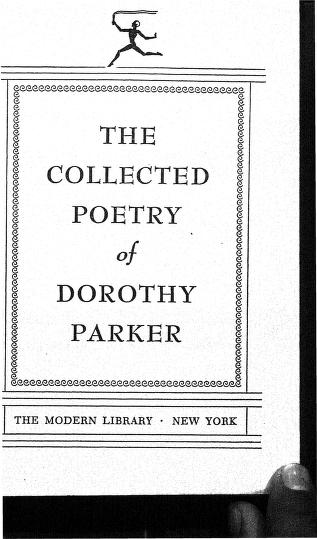 The Collected Poetry Of Dorothy Parker By Dorothy Parker