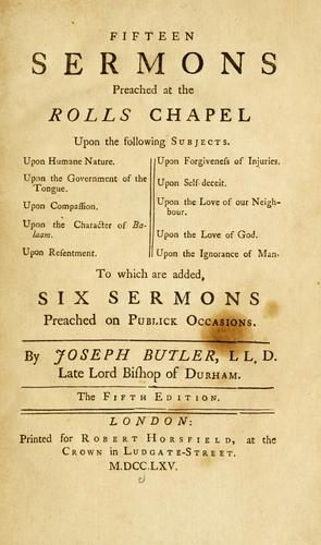Fifteen sermons preached at the Rolls Chapel …