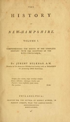 The history of New-Hampshire by Jeremy Belknap