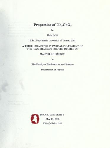 Properties of NaxCoO2 by Helia Jalili