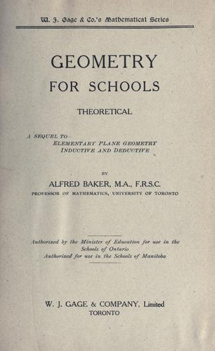 Geometry for schools by Baker, Alfred