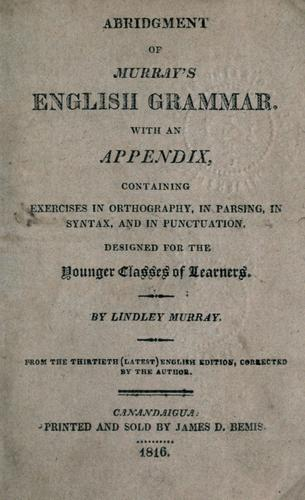 Abridgment of Murray's English grammar by Lindley Murray