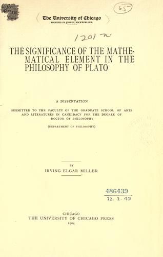 The significance of the mathematical element in the philosophy of Plato