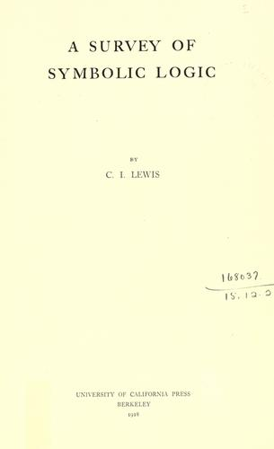 A survey of symbolic logic. by Lewis, Clarence Irving