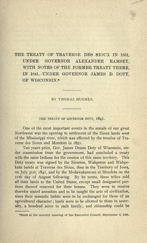 The treaty of Traverse des Sioux in 1851 by Hughes, Thomas