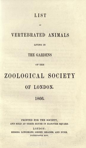 List of vertebrated animals living in the gardens of the Zoological Society of London by London Zoo (London, England)