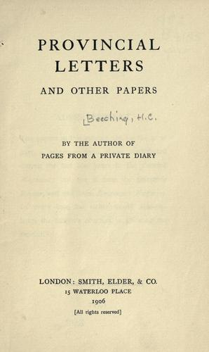 Provincial letters by H. C. Beeching