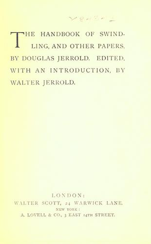 The handbook of swindling by Douglas William Jerrold