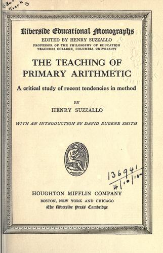 The teaching of primary arithmetic