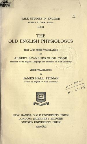 The Old English Physiologus by