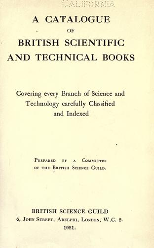 A catalogue of British scientific and technical books
