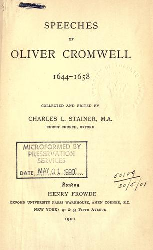 Speeches, 1644-1658 by Cromwell, Oliver